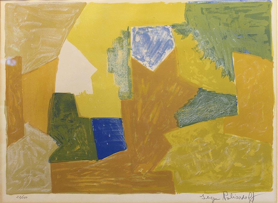 Composition jaune, orange et verte