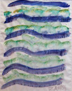 Pinselabrollung in Blau und Grün