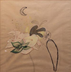 Ohne Titel (Collage mit Blumen und Mond)