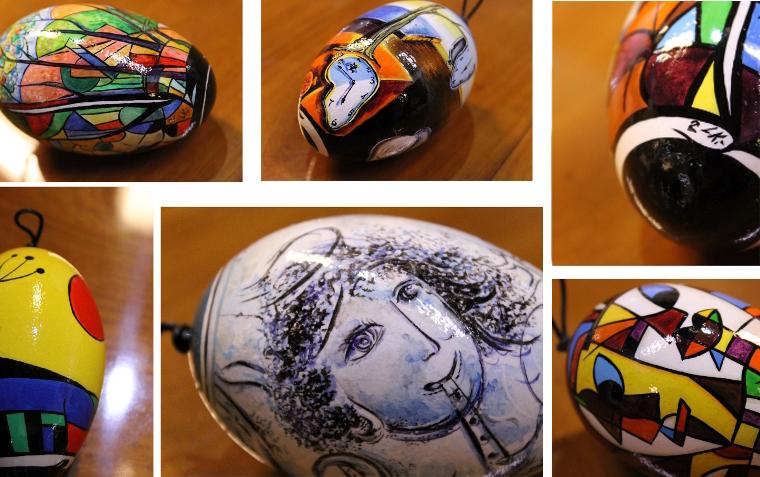 Exklusives Weihnachtsgeschenk nur bei uns: Handbemalte Fabergé-Eier mit Motiven der klassischen Moderne