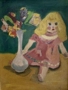 Stillleben mit Puppe und Blumen