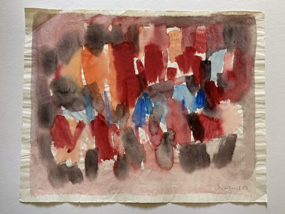 Philipp Weichberger, Aquarell rot-braun-blau, lot 1